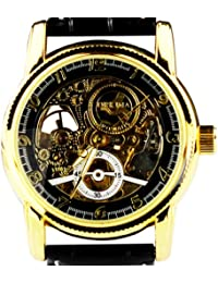 Funda para hombre Golden mecánica Orkina hueca esfera de esqueleto reloj con correa de piel