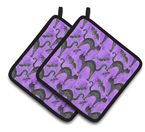Caroline 's Treasures bb7528pthd Watercolor Halloween schwarz Katzen auf violett verziert Topflappen, 19,1x 19,1cm Multicolor