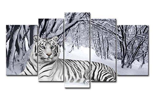 Impresión de Lienzo Giclée de pared Art imagen para decoración del hogar de tigre blanco en nieve bosque 5piezas Pinturas moderna estirada y enmarcado arte aceite los animales fotos impresiones de fotos sobre Lienzo