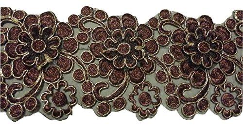 Glitzer Bordüre Sari Borte Spitze Stoff Stickerei breit für Kleider farbig zum nähen Farbvarianten (braun)
