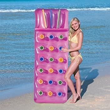 Inflatable  Pocket Fashion Sun Beach Swimming Pool Lounger Lilo Air Bed Mat Pink Amazon Co Uk Garden Outdoors