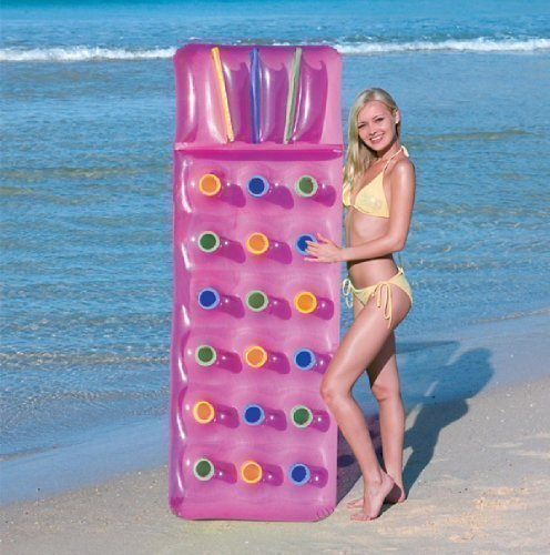 INFLATABLE 18 POCKET FASHION SUN BEACH SWIMMING POOL LOUNGER LILO AIR BED MAT (PINK)