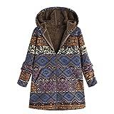 ESAILQ Damen Winter Warm Outwear Floral Print Hooded Taschen Vintage Oversize-Mäntel(X-Large,Blau)