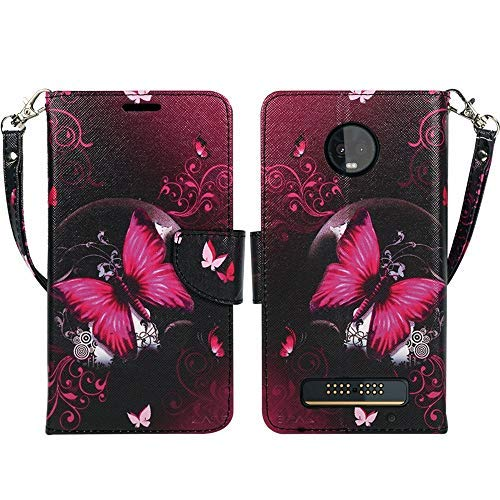 Motorola Moto Z3Fall, Moto Z3Play Zase Design Wallet Tasche Folio PU Leder Flip Cover w/[Standfuß] Kartenschlitz [Trageschlaufe] für Moto Z3Verizon, Hot Pink Butterfly Flower (Fällen Flip Handy Verizon)