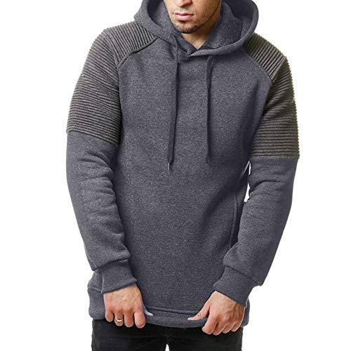 ZIYOU Herren Knit Kapuzenpullover Male Gestreift Hoodie Langarm Pullover Sweatshirt Vintage Lange Pullover für Männer Sport Fitness Outwear (L,Dunkelgrau)