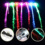 Fibra Optica LED, Trenzas Con Luces, JTDEAL 12 Piezas LED intermitente Light Up Extensiones de Cabello Fibra Óptica Clips de Pelo, Luces de Colores Led Party Supplies