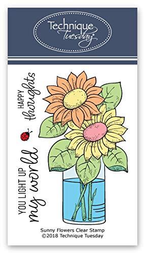 Sunny Flowers Transparente Stempel, Photopolymer-Stempel, klare Gummistempel, Blumen, Gummistempel, Stempel zum Basteln von Karten (Scrapbook-papier Inspirierende)