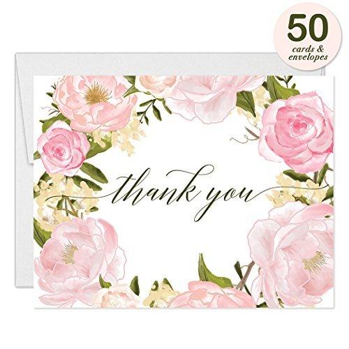 osen Kranz Thank You Karten mit Umschläge (50Stück) Beautiful Buds dank Geburtstag Baby Bridal Dusche Taufe Taufe Thank You Hervorragende Wert Gracias Aufstellkarten vt0046 ()