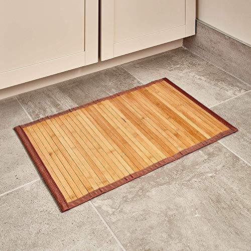 IDesign Alfombra antideslizante, alfombra de madera de bambú de tamaño pequeño, alfombrilla de baño...