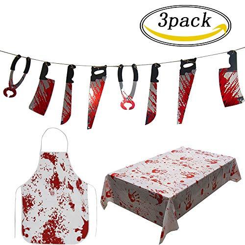 3pcs conjunto de decoración de Halloween incluyendo cubierta de tabla sangrienta armas sangrientas Garland Creepy delantal sangriento para carnicero Scary decoraciones de Halloween interior al aire libre