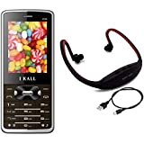 I KALL K36 Dual Sim Mobile With MP3/FM Player Neckband- Brown