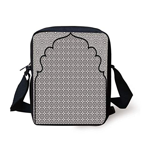 Moroccan,Arabian Art Background with a Group of Traditional Turkish Ottoman Forms Patterns,Black White Print Kids Crossbody Messenger Bag Purse -