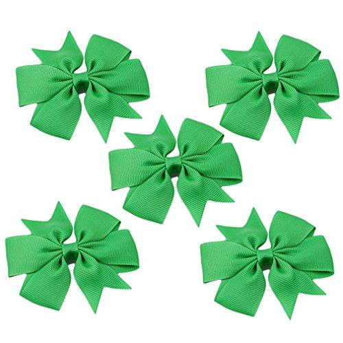 HENGSONG 5 Stück Schleife Haarspangen Haarbögen Schön Baby Kinder Mädchen Haarschmuck Haarclips Haar Accessoires (Grün)