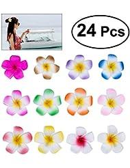 """Frcolor 24pc Set 2.4 """"Hawaï Hawaiian Plumeria Fleur Mousse Pince à Cheveux Accessoire pour Filles Ados Enfants Adultes Nuptiale Nuptiale Tenue De Vacances Plage, Robe (12 Couleurs)"""