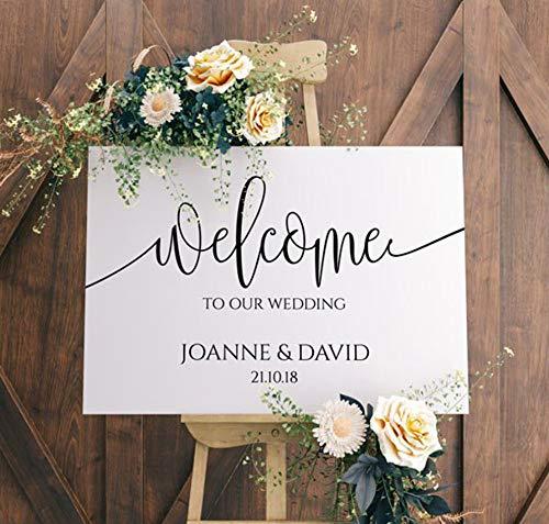 rylryl Herzlich Willkommen auf unserer Hochzeit Zeichen Vinyl Aufkleber Holz Spiegel personalisieren Braut Bräutigam Namen Wandaufkleber rustikale Hochzeit Dekoration42x24cm