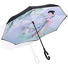 Paraguas invertido a prueba de viento plegable del paraguas del revés para las mujeres Doble capa interior para afuera Paraguas reversible del coche grande ...