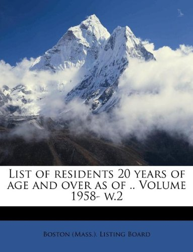 List of residents 20 years of age and over as of .. Volume 1958- w.2