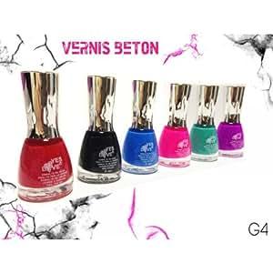 Lot de 6 vernis BETON REF.G4 - Nouveau décoration ongles - Nail art