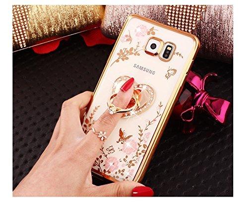 Etsue Silicone Coque pour Galaxy S8,Galaxy S8 Etui en Silicone TPU Case Soft Cover,Luxe Bling Doux Protecteur Coque pour Fille,Placage Remplissage Housse étui pour Galaxy S8,ultra-mince Briller Sparkl Support cœur,Or