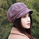 YANGFEIFEI-MZ Hat fiori femminili beret cap in autunno e inverno fiore cappuccio Moda Fashion Cap nuovo video sottile, viola/A