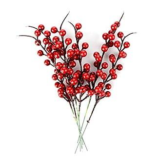 Jycra Bayas rojas artificiales de Navidad, paquete de 10 bayas de flor de acebo de bayas de fruta falsa para decoración de fiesta navideña de árbol de Navidad – 26cm