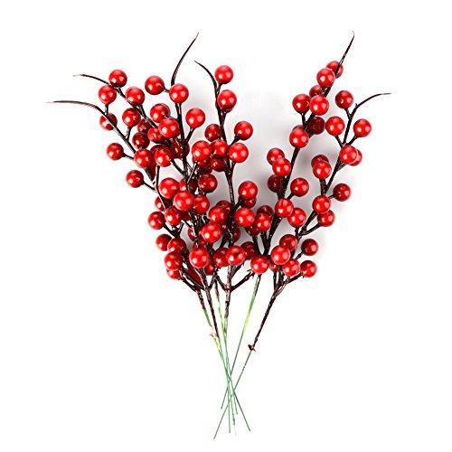 Wyi - set di 20 rami artificiali con bacche rosse e pigne da 26 cm, red, 20pz