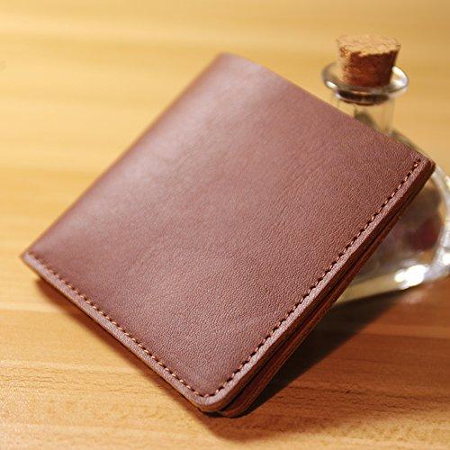 Handgefertigt kreativ einfachen Mini Handtasche Tasche Leder kleine kurze Wallet Geldbeutel von Männern und Frauen, schwarz Coffee Brown