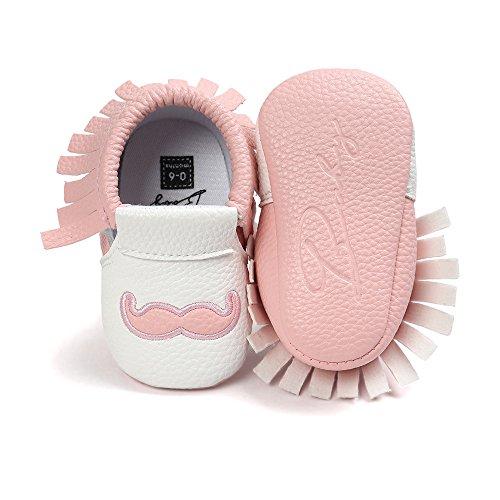 Hunpta Baby weiche Quaste Brief weiche Sohle Kleinkinder Schuhe Quaste Schuhe Rosa