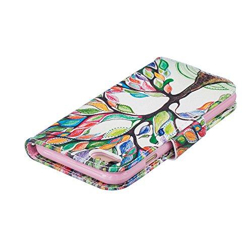 iPhone 7 Hülle,iPhone 7 Ledertasche Handyhülle Brieftasche im BookStyle,SainCat PU Leder Hülle Wallet Case Folio Schutzhülle Karikatur Muster [Ballon-Bär] Lederhülle Scratch Bumper Handytasche Backcov Bunte Baum