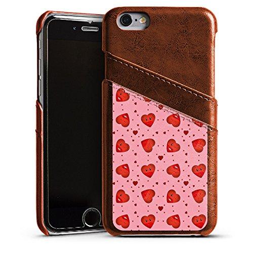 Apple iPhone 4 Housse Étui Silicone Coque Protection Saint-Valentin Rose vif C½urs Étui en cuir marron