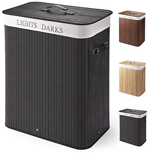 Virklyee Wäschekorb aus Bambus 100L Faltbare Wäschekorb Groß mit 2 Fächern Herausnehmbaren Wäschesortierer Wäschetruhe Wäschebox Wäschesammler Bambus Wäschekorb Wäschesack mit Deckel (Schwarz)