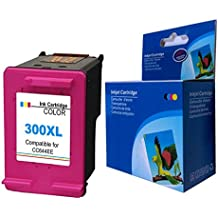 Kyansin 1 Cartuchos de Tinta Remanufacturados 300XL Tricolor 300 XL Reemplazar para HP DeskJet 1510 2540 2543 OfficeJet 2620 All-in-One Impresora Envy 4500 5530 OfficeJet 4630 e-All-in-One Impresora