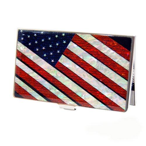 Porte carte de Visite Nacre Acier Inoxydable Banniere etoilee Drapeau USA Etats Unis AMERIQUE OBAMA