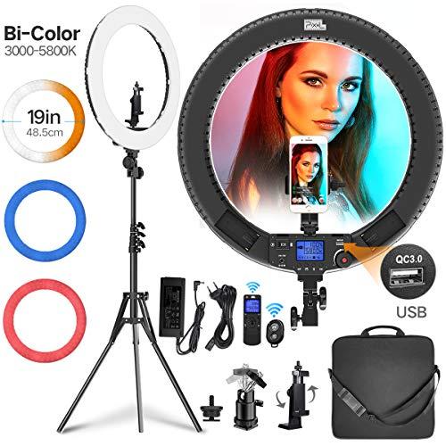 Ring Licht, Pixel 19 Zoll 3000-5800K, CRI≥97 mit Funkfernbedienung und 3 Farbfiltern (Rot/Blau/Weiß) Ring Leuchte für YouTube, Videos, Fotografie, Make up, Porträt, Vlog, Live-Übertragung