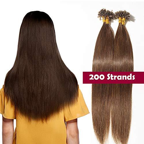 Extension capelli veri cheratina 200 ciocche castani 100g 40cm-55cm 100% remy human hair indiani naturali u tip hair estensioni 0.5 grammo/fascia (16