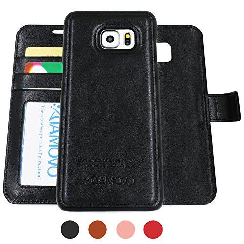 AMOVO Samsung Galaxy S6 Edge Plus Hülle und Brieftasche ,Herausnehmbare Schutzhülle, 2 Aufstellmöglichkeiten, Hochwertiges Kunstleder, Portmonee-Schutzhülle mit Aufstellfunktion, Geschenkverpackung (C Schwarz