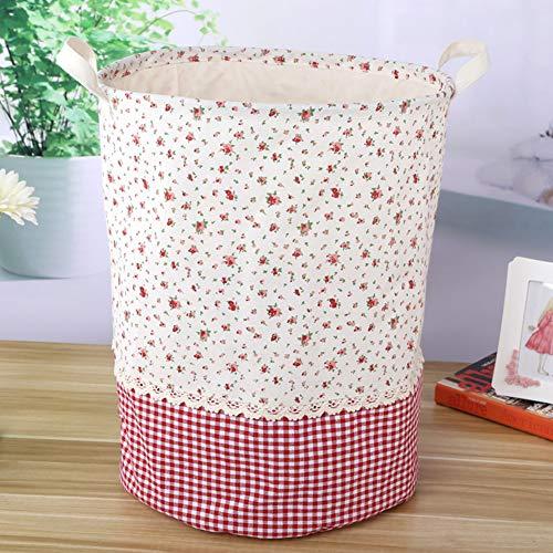 Hyde cesto portaoggetti pieghevole con manici, cesto portabiancheria rotondo, a prova di umidità antipolvere botti impermeabile in cotone(35×45cm)(stile2 - floreale)