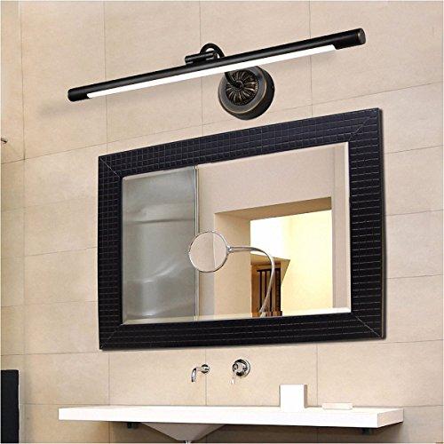 Bad spiegel Lampe LisaFeng Winkel einstellbar LED-Körper aus reinem Kupfer und Acryl Lampenschirm, Retro wasserdicht Beschlagfrei, Schwarz, 56 cm