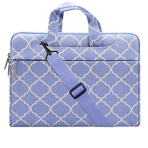 MOSISO Notebooktasche Laptop Schultertasche für 13-13,3 Zoll MacBook Pro, MacBook Air, Notebook Computer Quatrefoil Stil stoßfeste Messenger mit Zubehör Fächern und Handgriff als Schut, Serenity Blau