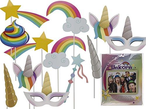 PhiLuMo Einhorn Party Requisiten Set, Party Foto Verkleidung auf Stick. 12 Teile