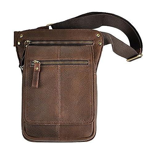 Genda 2Archer Sling Tactical Oberschenkeltasche Echtes Leder Bein Tasche (Style 2) (Co Leder Sling)