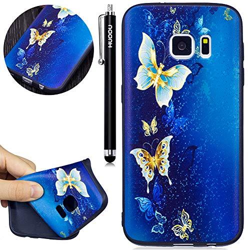 HUDDU Compatible for Schutzhülle Samsung Galaxy S7 Silikon Hülle Blau Schmetterling Muster Motiv Handyhülle 3D Karikatur Case Weich Soft Flexibel TPU Ultra Dünn Back Cover Crystal Stoßfest Blau Back Cover