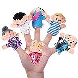 Newin Star Marionette del dito, marionette da dita, burattini di mano motivo famiglia sorridente giocattolo marionette per bambini (6pcs)