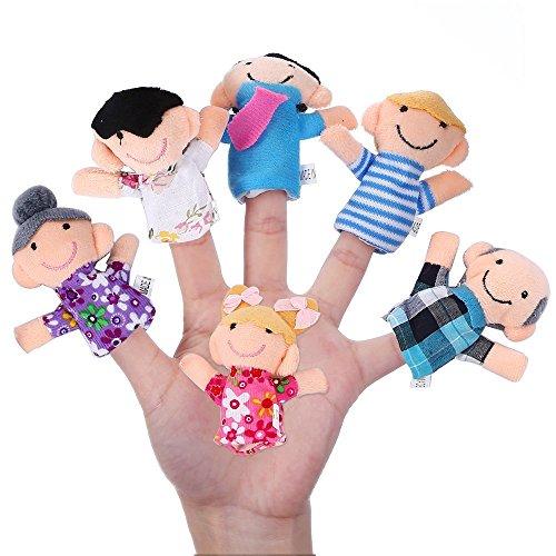Newin Star 6pz marionette da dita, Happy membro della famiglia figure Puppet set Toys story-telling props