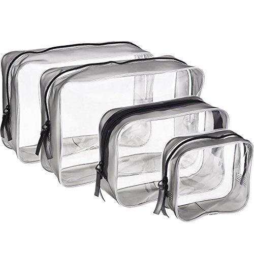 Set Kosmetik Tasche 3 Stück (4 Stück Transparent PVC Kulturbeutel mit Reißverschluss Wasserdichte Kosmetische Make-up Tasche Kosmetiktasche, Multi-Größen (Klein, Medium, Groß))