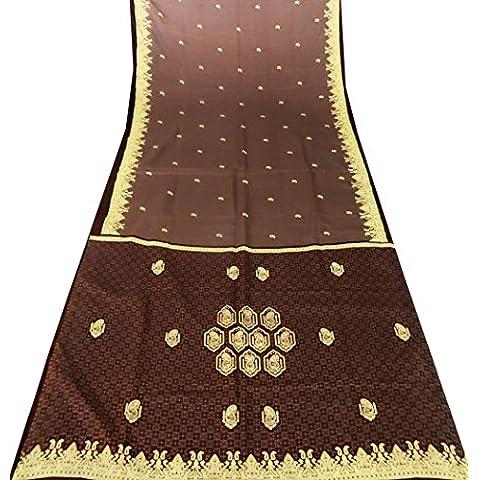 indian-epoca in seta sari arte materiale artigianale tenda drappo di cachemire usato stampato marrone donne d'arredo avvolgere abito pareo - Arte Seta Tende