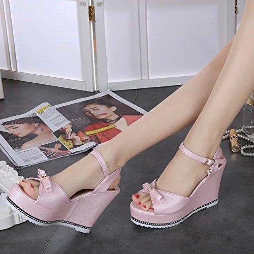 Lgk & fa estate sandali pendenza tacchi Cool stivali da donna impermeabile toe scarpe casual suola spessa muffin Pink