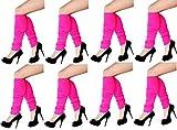 krautwear 8x Damen Beinwärmer Stulpen Legwarmers Overknees gestrickte Strümpfe Schwarz 80er Jahre 1980er Jahre (8 x 13232-Pink)