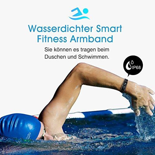 Fitness Tracker, Mpow IP68 Wasserdichte Smart Fitness Armbänder mit Pulsmesser, OLED Bildschirm Herzfrequenz Monitor Schwimmsportuhr Aktivitätstracker Podometer für Android iOS Smartphones z.B. iPhone 7/7 Plus/6S/6/5/5S, Samsung S8/S7, Huawei, LG, Sony, schwarz - 3