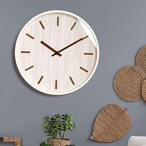 Chenteshangmao Moderne Minimalistische Nordic Massivholz Mute Wanduhr, Home Decoration Fashion Runde Uhr.Stummschaltung, Gewöhnlicher Glasspiegel.Größe: 36 * 36,4,5 cm. Trendy Fashion Wanduhr